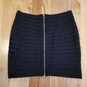 UO Black Textured High-Waist Pencil Skirt, Medium